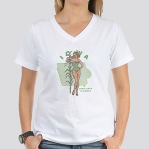 Faded Iowa Pinup Women's V-Neck T-Shirt