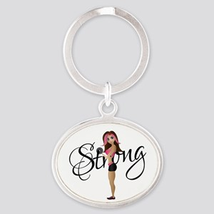 Strong Fit Girl Oval Keychain