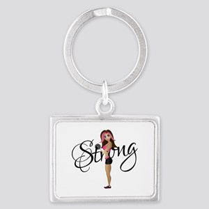 Strong Fit Girl Landscape Keychain