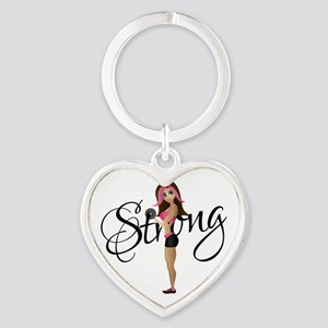 Strong Fit Girl Heart Keychain