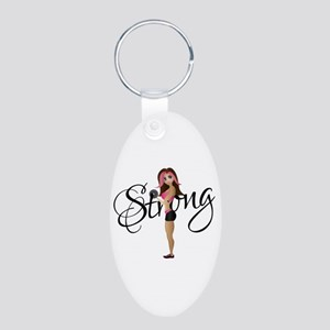 Strong Fit Girl Aluminum Oval Keychain