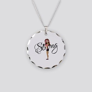 Strong Fit Girl Necklace Circle Charm