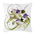 Atom Flowers #20 white Woven Throw Pillow