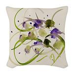 Atom Flowers #20 Woven Throw Pillow