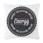 Support The Keystone Pipeline Woven Throw Pillow
