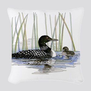 Loon and baby Woven Throw Pillow