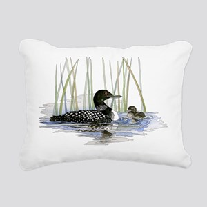 Loon and baby Rectangular Canvas Pillow