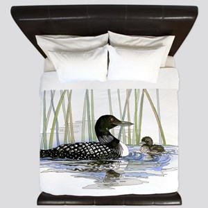 Loon and baby King Duvet