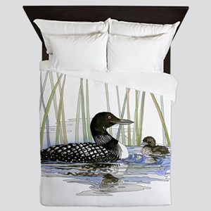 Loon and baby Queen Duvet