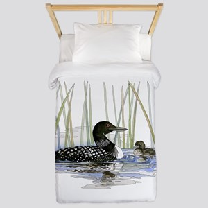 Loon and baby Twin Duvet