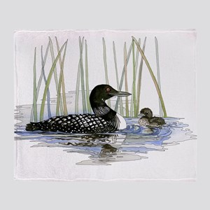 Loon and baby Throw Blanket