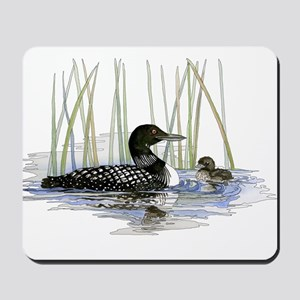Loon and baby Mousepad