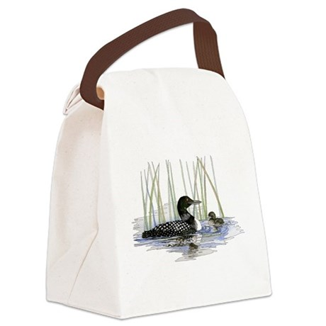 Loon and baby Canvas Lunch Bag