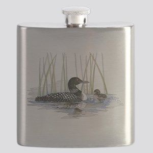 Loon and baby Flask
