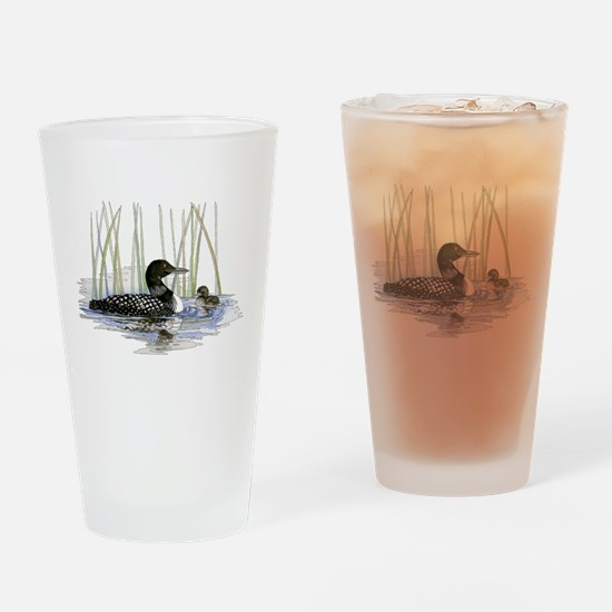 Loon and baby Drinking Glass