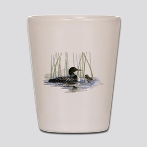 Loon and baby Shot Glass