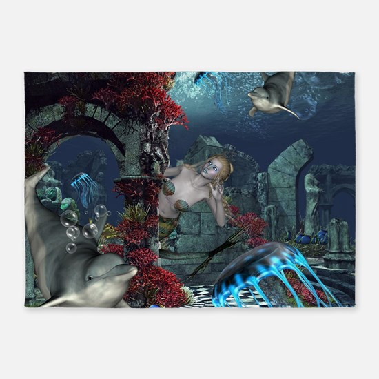 Beautiful mermaid swimming with dolphin 5'x7'Area