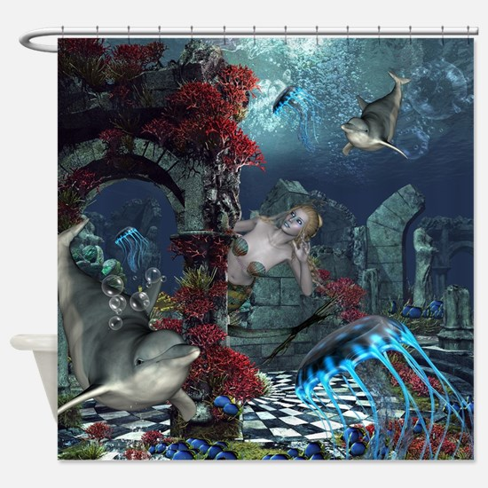 Beautiful mermaid swimming with dolphin Shower Cur