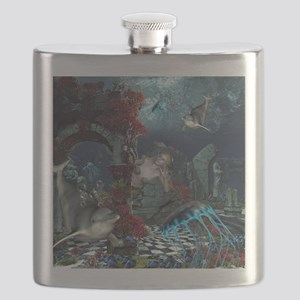 Beautiful mermaid swimming with dolphin Flask