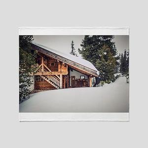 Alpine Hut Winter Chalet Throw Blanket