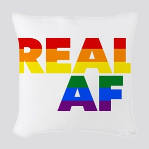 Real AF Gay Pride Woven Throw Pillow