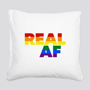 Real AF Gay Pride Square Canvas Pillow