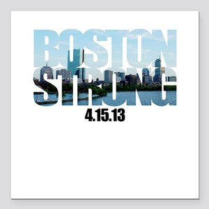 "Boston Strong Skyline Square Car Magnet 3"" x 3"""