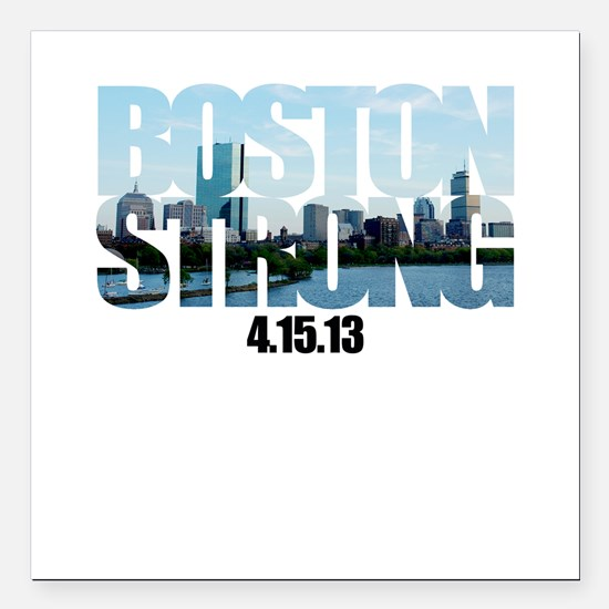 """Boston Strong Skyline Square Car Magnet 3"""" x 3"""""""