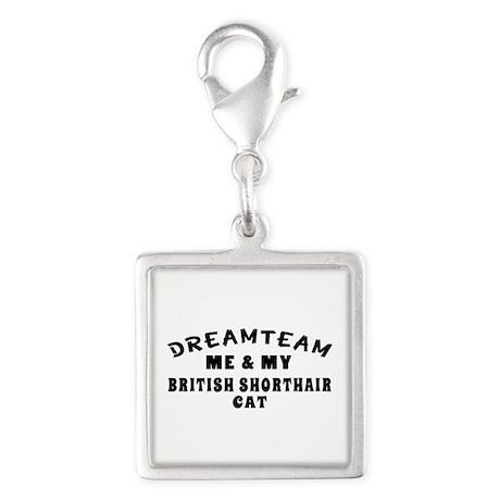 British Shorthair Cat Designs Silver Square Charm
