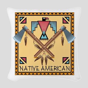 Native American Tomahawks Woven Throw Pillow