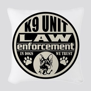 K9 In Dogs We Trust Black Woven Throw Pillow