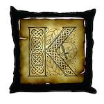 Celtic Letter K Throw Pillow