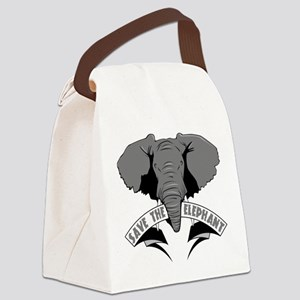 Save The Elephant Canvas Lunch Bag