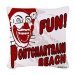 Pontchartrain Beach Clown Woven Throw Pillow