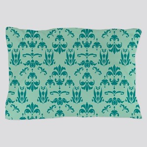 Teal on Jaded Gray Damask #20 Pillow Case