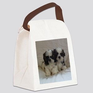 Two Shih Tzu Puppies Canvas Lunch Bag