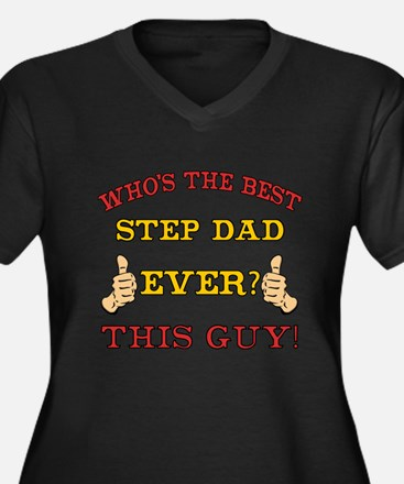 Best Step Dad Ever Women's Plus Size V-Neck Dark T