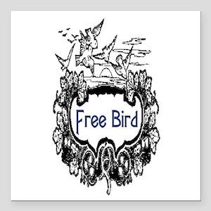 "FREE BIRD Square Car Magnet 3"" x 3"""