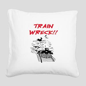 TRAIN WRECK Square Canvas Pillow