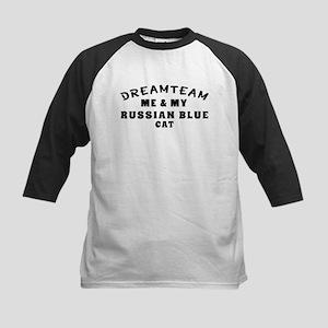 Russian Blue Cat Designs Kids Baseball Jersey