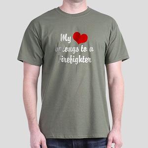 My Heart Belongs to a Firefig Dark T-Shirt