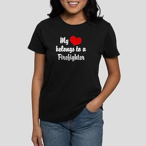 My Heart Belongs to a Firefig Women's Dark T-Shirt