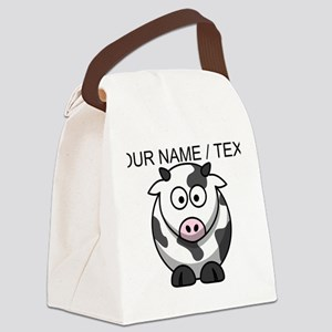 Custom Cartoon Cow Canvas Lunch Bag