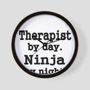 Therapist day.Ninja by night. Wall Clock