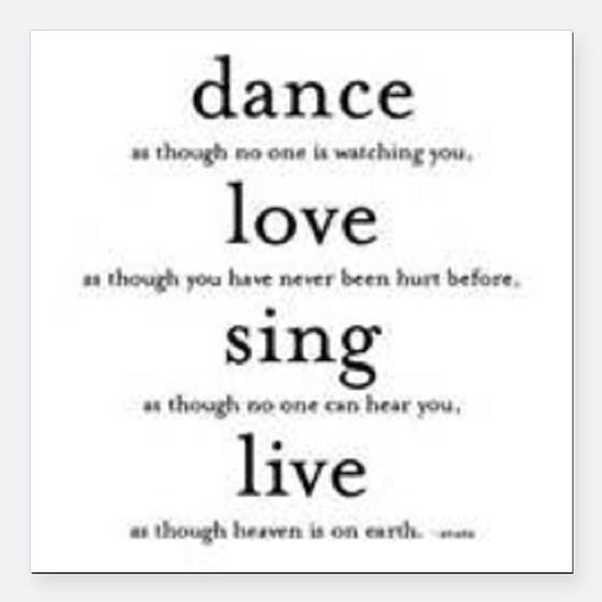 "Dance, Love, Sing, Live Square Car Magnet 3"" x 3"""