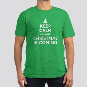 Keep Calm Christmas Men's Fitted T-Shirt (dark)
