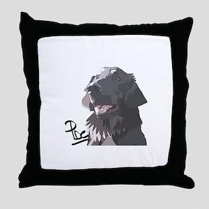 Flatcoated retriever PerryBGC Throw Pillow