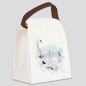 Ermine in the Snow Canvas Lunch Bag
