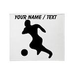 Custom Soccer Player Silhouette Throw Blanket
