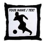 Custom Soccer Player Silhouette Throw Pillow